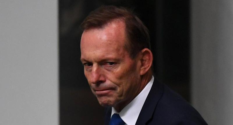 Pictured is Liberal candidate Tony Abbott who has come under intense scrutiny for his tribute to former Labor leader Bob Hawke.