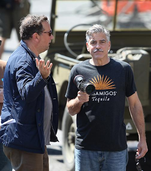 George Clooney meets the public on the set of 'The Monuments Men' in Rye, Sussex, UK