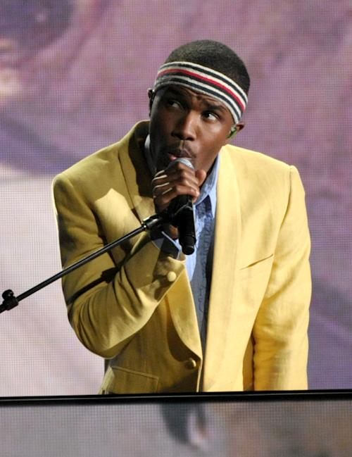 FILE - This Feb. 10, 2013 file photo shows Frank Ocean performing at the 55th annual Grammy Awards in Los Angeles. The New Orleans Jazz and Heritage festival begins Friday, April 25. This year's headliners are big, including Billy Joel, Fleetwood Mac, Hall and Oates, The Black Keys, Maroon 5, Jill Scott, Kem, Frank Ocean and the Dave Matthews Band. (Photo by John Shearer/Invision/AP, file)