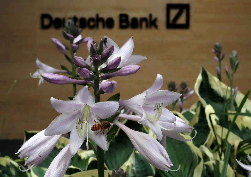 FILE PHOTO: A bee collects pollen at a flower near a Deutsche Bank office in London