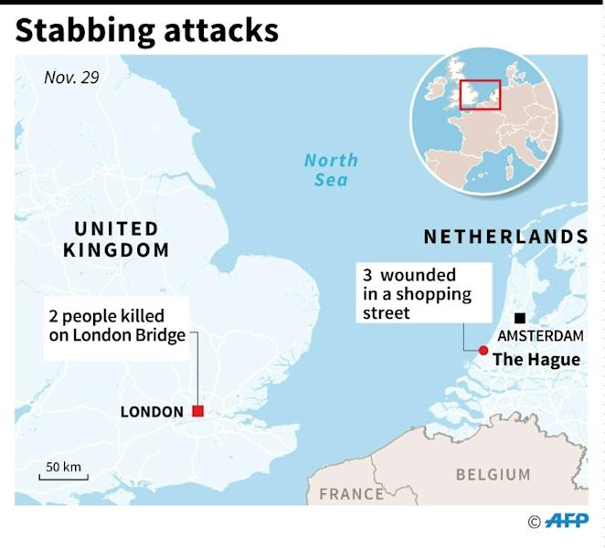 Map of Europe locating London and The Hague, after stabbing attacks on Friday