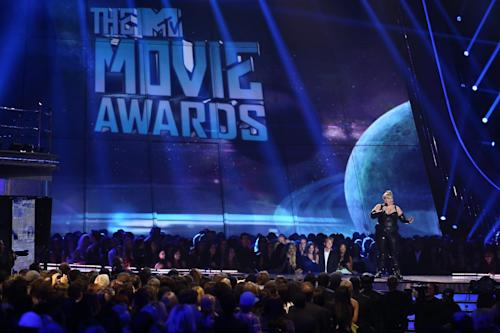 Host Rebel Wilson performs on stage at the MTV Movie Awards in Sony Pictures Studio Lot in Culver City, Calif., on Sunday April 14, 2013. (Photo by Matt Sayles/Invision /AP)