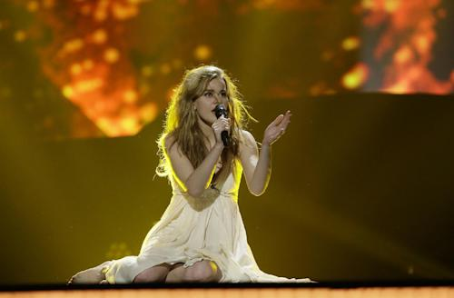 "Emmelie de Forest of Denmark performs her song ""Only Teardrops"" during a rehearsal for the final of the Eurovision Song Contest at the Malmo Arena in Malmo, Sweden, Friday, May 17, 2013. The contest is run by European television broadcasters with the event being held in Sweden as they won the competition in 2012, the final will be held in Malmo on May 18. (AP Photo/Alastair Grant)"