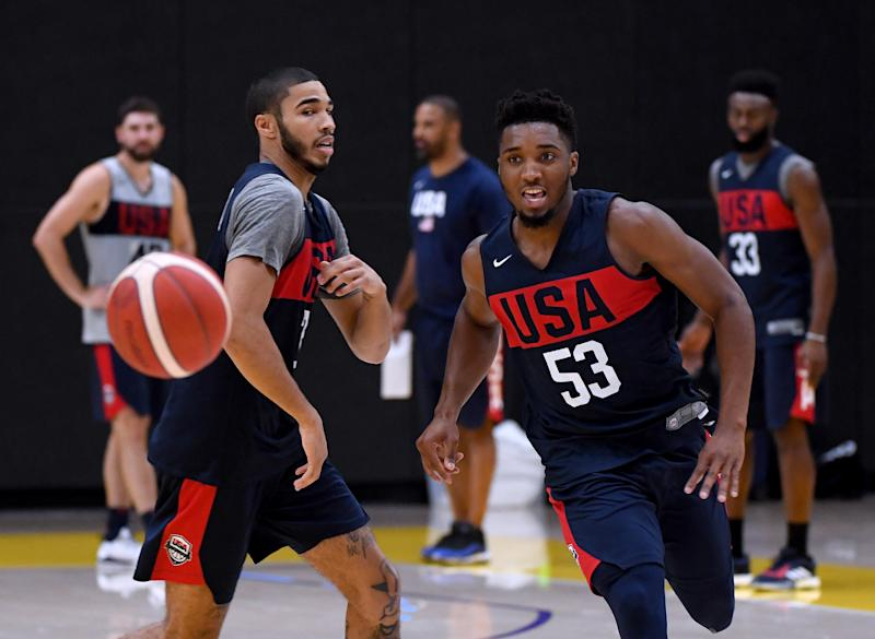 EL SEGUNDO, CALIFORNIA - AUGUST 13: Donovan Mitchell #53 chases after his pass in front of Jayson Tatum #34 during the 2019 USA Men's National Team World Cup training camp at UCLA Health Training Center on August 13, 2019 in El Segundo, California. (Photo by Harry How/Getty Images)