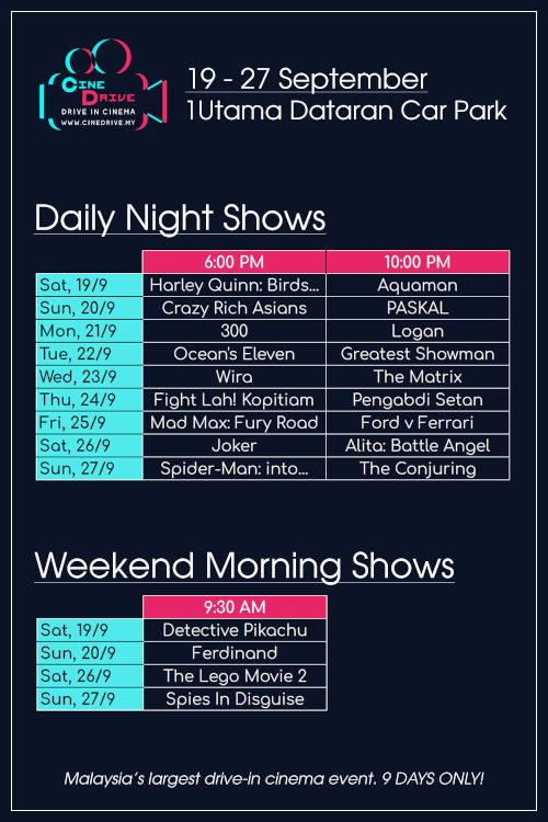 The list of movies and showtimes at CineDrive.