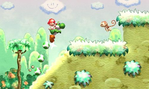 "This video game image released by Nintendo shows a scene from ""Yoshi's Island."" The loveable green-skinned critter Yoshi and princess-rescuing adventurer Link and are coming the Nintendo 3DS. The Japanese gaming giant announced plans Wednesday, April 17, 2013, to bring ""Yoshi's Island,"" ""The Legend of Zelda"" and ""Mario Party"" games to its handheld gaming system. (AP Photo/Nintendo)"