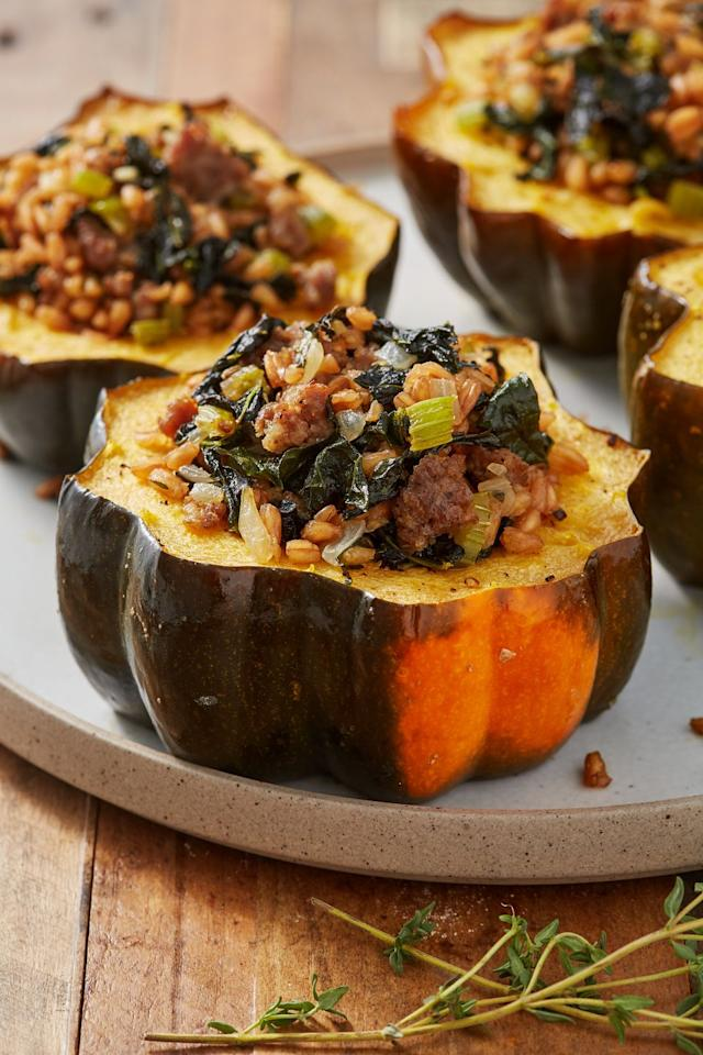 "<p>Butternut squash who? </p><p>Get the recipe from <a href=""https://www.delish.com/cooking/recipe-ideas/a28484111/easy-stuffed-acorn-squash-recipe/"" target=""_blank"">Delish</a>.</p>"