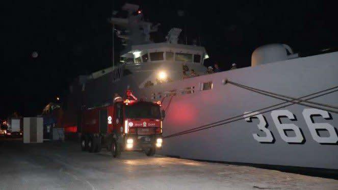 VIVA Militer: KRI Sultan Hasanuddin di Pelabuhan Beirut.