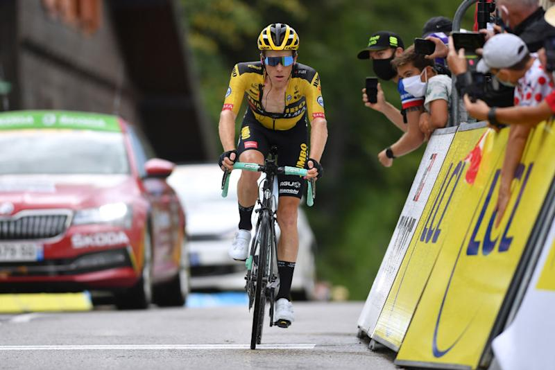 CHARTREUSE FRANCE AUGUST 13 Arrival Steven Kruijswijk of The Netherlands and Team Jumbo Visma during the 72nd Criterium du Dauphine 2020 Stage 2 a 135km stage from Vienne to Col de PorteChartreuse 1316m dauphine Dauphin on August 13 2020 in Chartreuse France Photo by Justin SetterfieldGetty Images