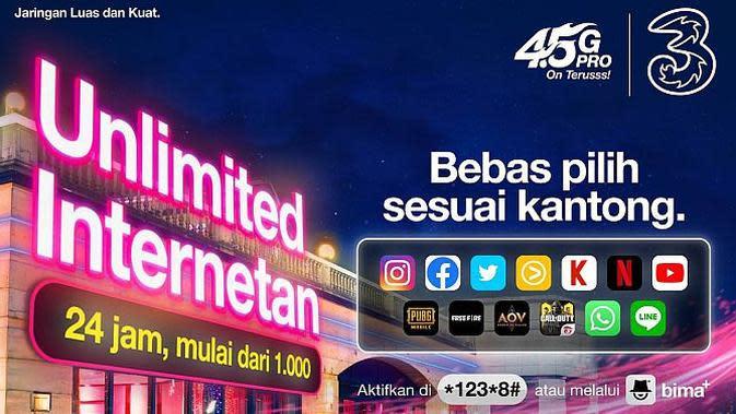 Paket Unlimited Internet dari Tri Indonesia (Foto: Tri Indonesia)