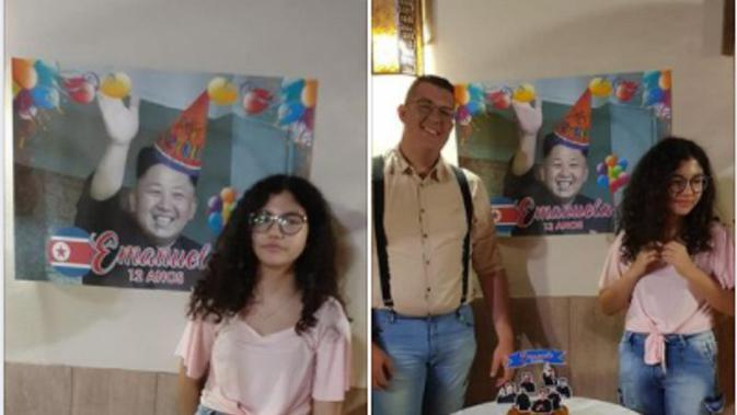 Minta pesta ulang tahun serba BTS, Emanuela justru dapatkan serba Kim Jong-Un. Sumber: Facebook/Vitor de Souza