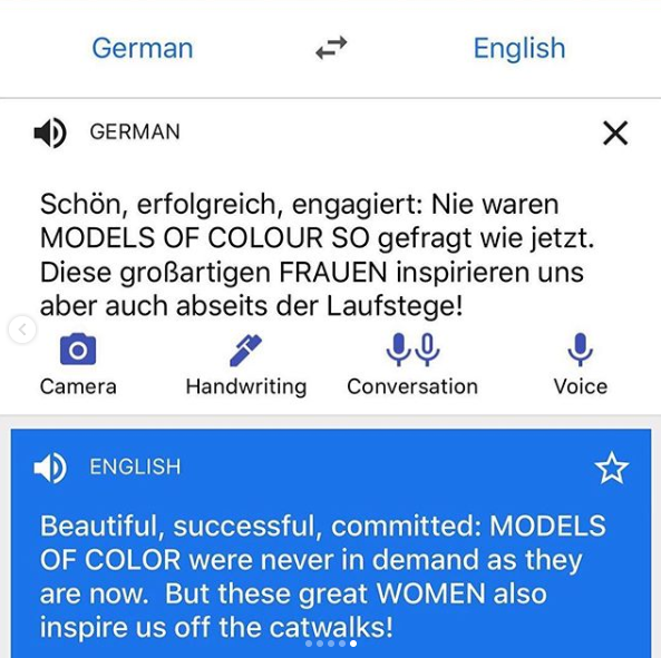 Naomi shared a screenshot of a translation of some copy from ELLE Germany's profile