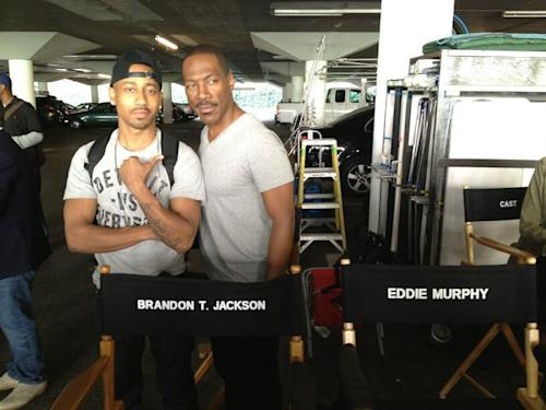 "Brandon T. Jackson and Eddie Murphy on the set of ""Beverly Hills Cop."""