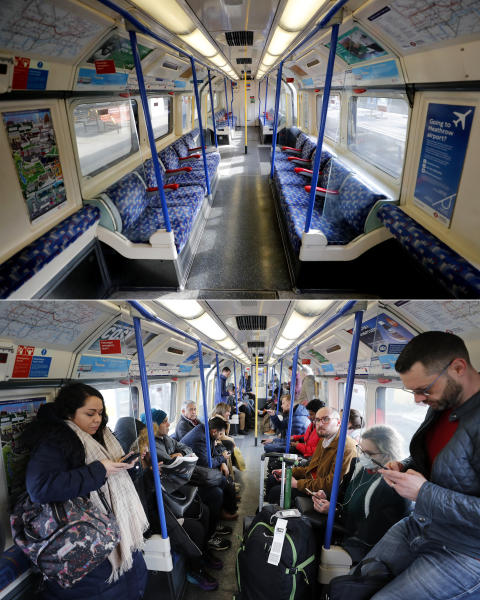 A combo of images showing commuters on the Piccadilly Line tube in London on Tuesday, March 17, 2020 and the an empty compartment on the same London underground line taken on Thursday, April 2, 2020. When Associated Press photographer Frank Augstein moved to London in 2015, what struck him most was the crowds. In years of covering political dramas, moments of celebration and tragedy and major sporting events, Augstein's photographs have captured the city's ceaseless movement: Pedestrians swarming over the Millennium footbridge spanning the River Thames. Travelers from the U.K. and continental Europe thronging St. Pancras railway station. Commuters following London transit etiquette by carefully ignoring one another on a crowded Tube train, or waiting patiently in a snaking bus queue. Augstein revisited those sites in recent days after Britain — like other countries around the world — went into effective lockdown to stem the spread of the new coronavirus. (AP Photo/Frank Augstein)