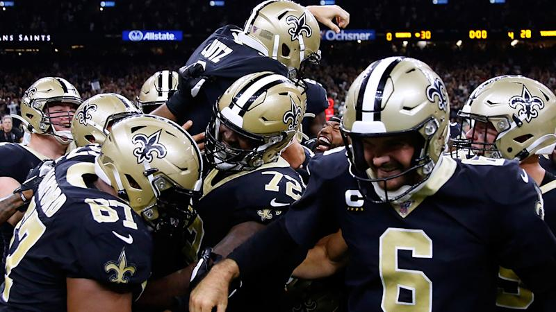 The New Orleans Saints, pictured here celebrating their victory.
