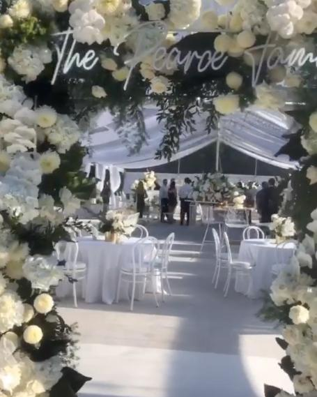 <p>Tobi had organised for 130 of the couple's family and friends to celebrate in a marquee decorated with white flowers, candles and fairy lights. Photo: Instagram/dianekhouryweddingsandevents </p>
