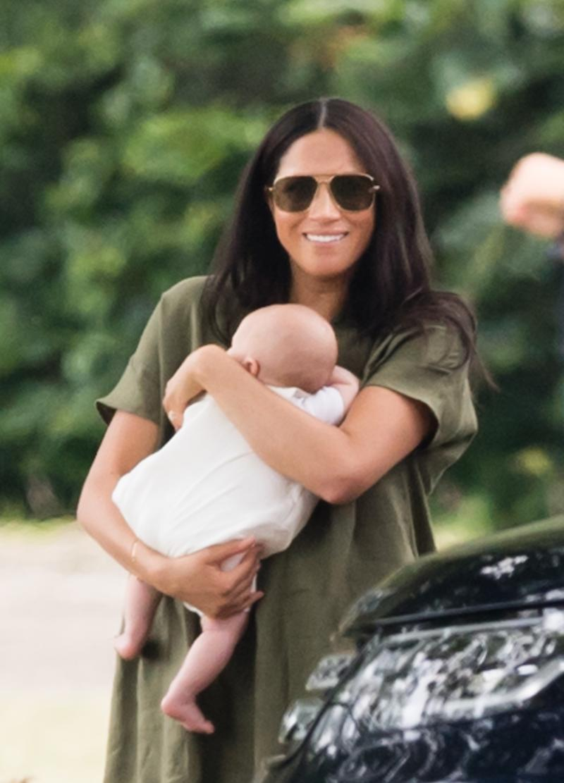 Meghan, Duchess of Sussex pictured with Archie Harrison Mountbatten-Windsor at The King Power Royal Charity Polo Day
