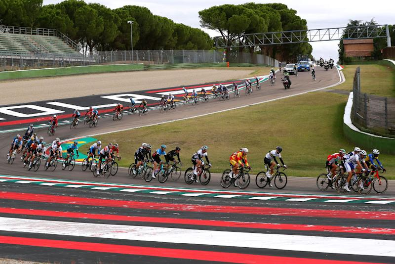 The peloton take on the motor racing circuit at Imola