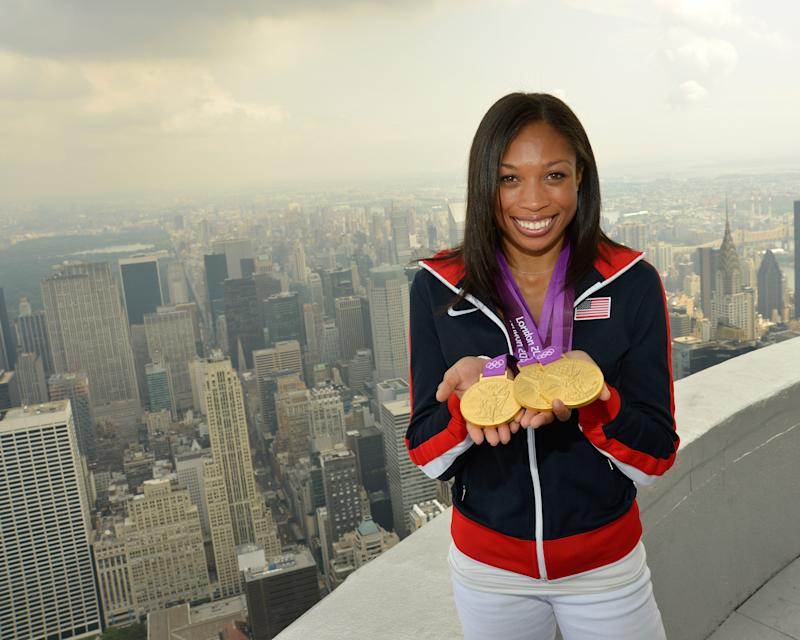 Allyson Felix assembled an impressive medal collection while partnered with Nike. (Getty)