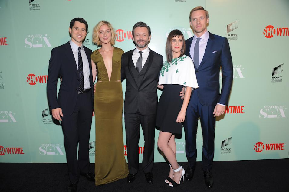 Nicholas D'Agosto, Caitlin Fitzgerald, Michael Sheen, Lizzy Caplan and Teddy Sears at the premiere screening of MASTERS OF SEX, hosted by SHOWTIME and SONY PICTURES TELEVISION, on Thursday, September 26, 2013 at The Morgan Library and Museum in New York City. (Photo by Brad Barket/Invision for SHOWTIME/AP Images)