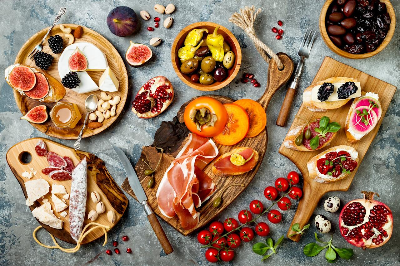 <p>The best part about a charcuterie board is you can mix and match different textures of food. For example, include soft pâté and hard salami, creamy and firm cheeses, chewy dried fruits, and crunchy crackers and nuts. The more textures the better.</p>
