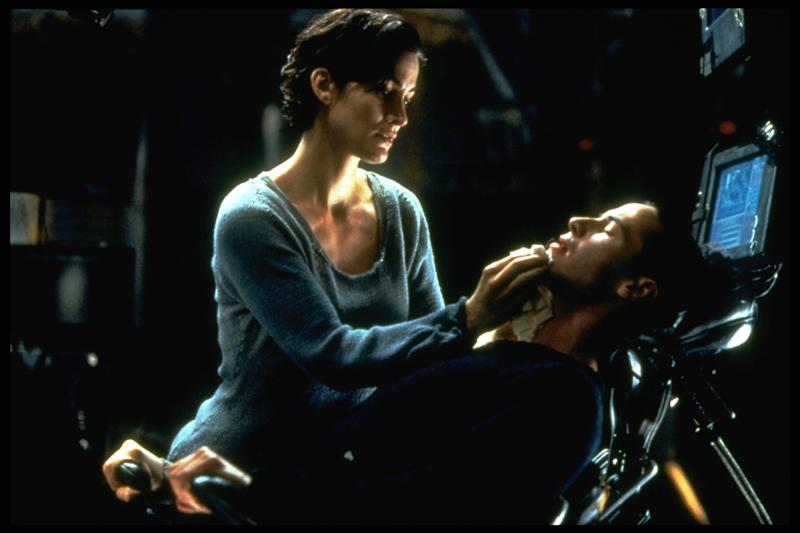 Carrie-Anne Moss and Keanu Reeves in The Matrix (Photo by Ronald Siemoneit/Sygma/Sygma via Getty Images)