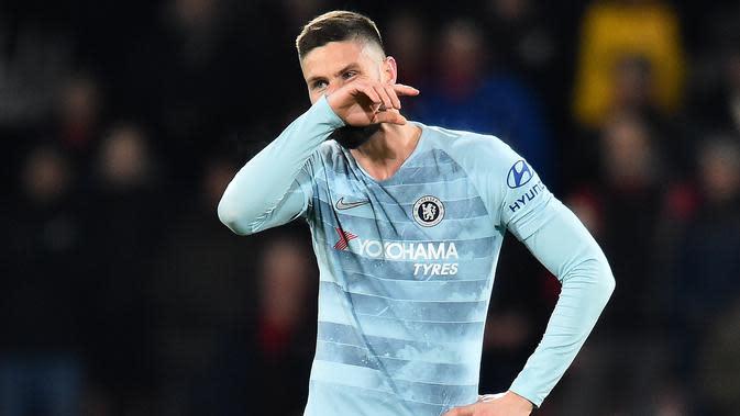Ekspresi Olivier Giroud pada laga lanjutan Premier League yang berlangsung di stadion Dean Court, Bournemouth, Kamis (31/1). Chelsea dipermalukan 0-4 kontra Bournemouth. (AFP/Glyn Kirk)