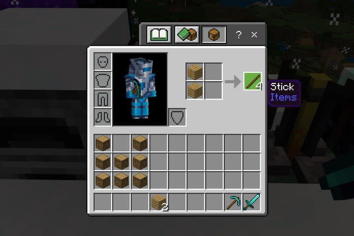 Minecraft Create Sticks for Torches