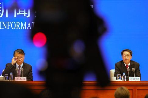Shen Chunyao (left), director of the legislative affairs commission of the NPCSC, and Zhang Xiaoming, deputy director of Hong Kong and Macau Affairs Office. Photo: Simon Song