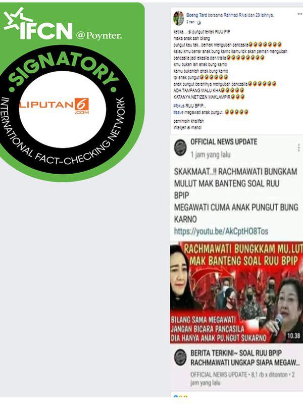 Tangkapan Layar yang menyebut Megawati anak pungut Soekarno. (Facebook)