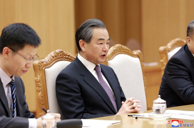 KCNA picture of Chinese State Councillor Wang Yi at a meeting with North Korean leader Kim Jong Un