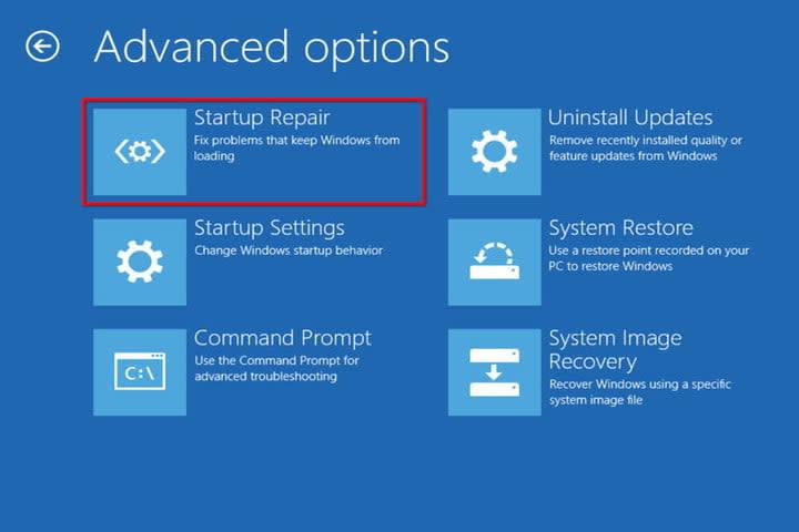 Win 10 Advanced Options Startup Repair