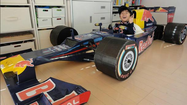Mom builds 4-year-old spot-on replica of Red Bull's 2012 Formula 1 car