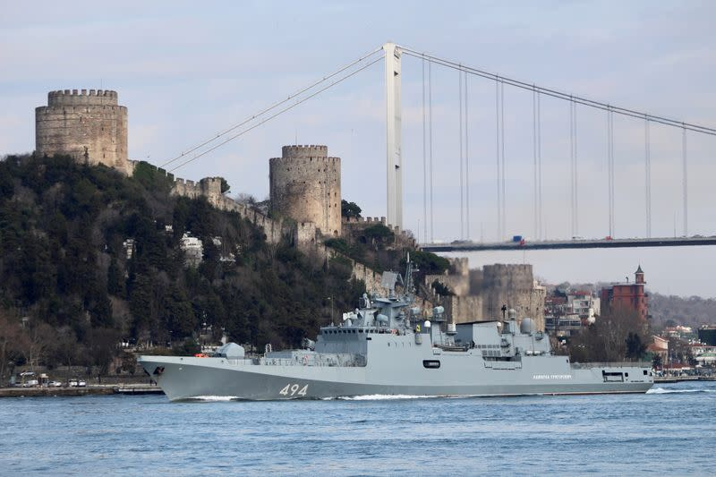 FILE PHOTO: The Russian Navy's frigate Admiral Grigorovich sets sail in Istanbul's Bosphorus