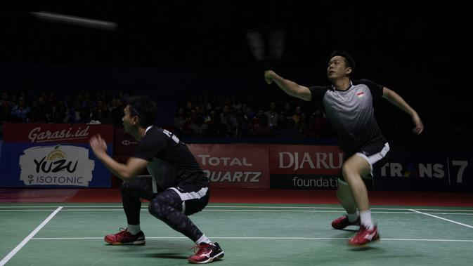 Ganda putra Indonesia, Mohammad Ahsan / Hendra Setiawan. (Bola.com/Vitalis Yogi Trisna)