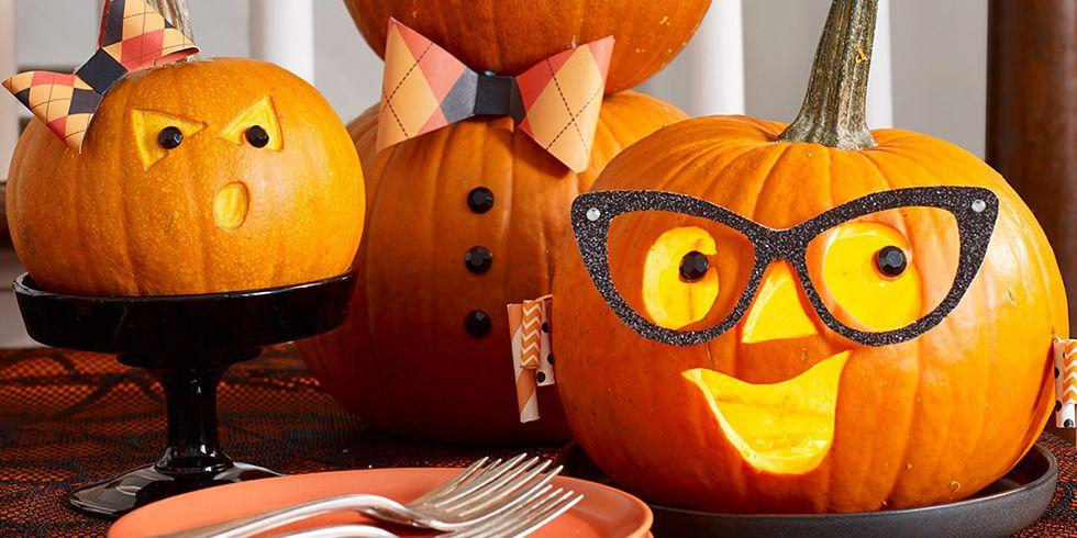 """<p>Nothing says """"Happy <a href=""""https://www.womansday.com/halloween/"""">Halloween</a>"""" like a collection of carved pumpkins, arranged ever so perfectly on a porch or windowsill. And this year, with Halloween festivities being limited due to COVID-19, pumpkin carving is one of the few <a href=""""https://www.womansday.com/life/a34112053/halloween-2020-trick-or-treating-cdc-guidelines/"""">activities that has earned the Centers for Disease Control's approval</a>. So why not go all out with your pumpkin carving ideas? After all, if you can only do one Halloween activity, you might as well give it 100 percent. </p><p>From goofy faces to glamorous witches, these pumpkin carving ideas will take your <a href=""""https://www.womansday.com/home/decorating/g1279/easy-halloween-decorations/"""">Halloween decoration</a> game to another level. And no, you don't have to be a master of the <a href=""""https://www.amazon.com/gp/slredirect/picassoRedirect.html/ref=pa_sp_atf_aps_sr_pg1_1?ie=UTF8&adId=A09795252HHAZ8PN5A6MF&url=%2FGoStock-Pumpkin-Stainless-Halloween-Lanterns%2Fdp%2FB08B3DJ921%2Fref%3Dsr_1_1_sspa%3Fdchild%3D1%26gclid%3DCjwKCAjwiaX8BRBZEiwAQQxGx82CFHjCuvfi8iWw_Yxo446nu98wifZVsltQim5t-ZZwlRG4YsB07hoCOfAQAvD_BwE%26hvadid%3D174226763258%26hvdev%3Dc%26hvlocphy%3D9067609%26hvnetw%3Dg%26hvqmt%3De%26hvrand%3D13888871149274909059%26hvtargid%3Dkwd-35580891%26hydadcr%3D24656_9648981%26keywords%3Dpumpkin%2Bcarving%2Bkit%26qid%3D1602873989%26sr%3D8-1-spons%26tag%3Dgooghydr-20%26psc%3D1&qualifier=1602873989&id=6676273619141672&widgetName=sp_atf"""">carving kit</a> to bring these ideas to life. Some are easy as carving holes into your <a href=""""https://www.womansday.com/home/decorating/a56701/how-to-make-pumpkins-last-longer/"""">pumpkin</a>. So gather your gear, your gourds, and your quaranteam, and settle in for a fall-filled day. </p><p><em>Note: This year, <a href=""""https://www.womansday.com/life/g2664/halloween-safety-tips"""">Halloween safety</a> is more important than ever. Make sure to read the<a href=""""h"""