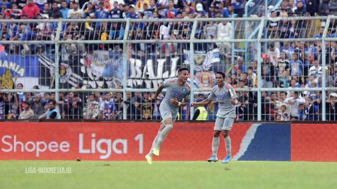 Wander Luiz, striker Persib saat berselebrasi merayakan gol saat Maung Bandung bertandang ke markas Arema FC dalam pentas Shopee Liga 1 2020. (Dok. Liga Indonesia)