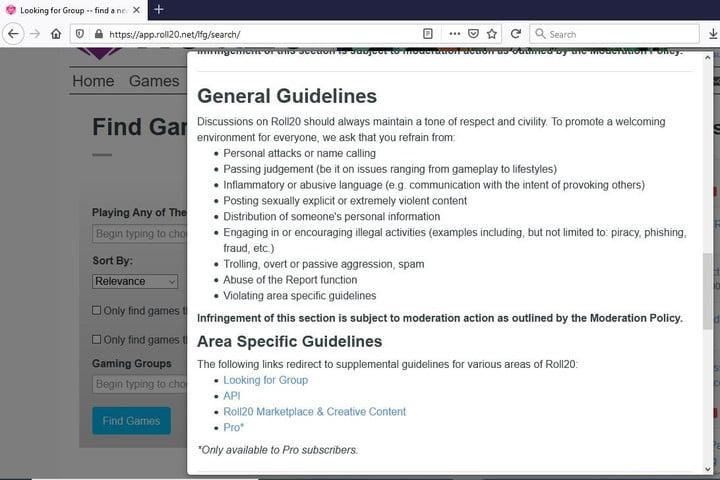 Image of Roll20 Moderation and General Guidelines