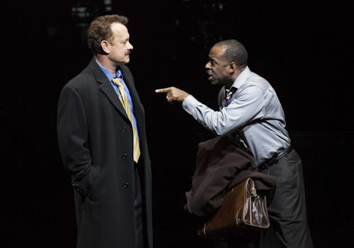 "FILE - This theater image released by Boneau/Bryan-Brown shows Tom Hanks as tabloid columnist Mike McAlary, left, and Courtney B. Vance as editor Hap Hairston during a performance of ""Lucky Guy,"" playing at the Broadhurst Theatre in New York. Vance won a Tony Award Sunday, June 9, 2013 for featured actor in a play for his role in the production. (AP Photo/Boneau/Bryan-Brown, Joan Marcus)"