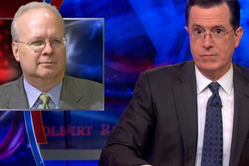 Stephen Colbert: Does Karl Rove Have a Brain Injury? (Video)