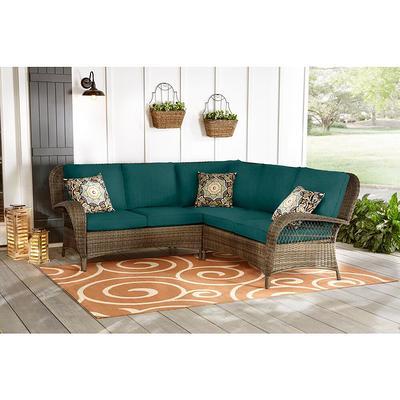 Hampton Bay Beacon Park 3 Piece Brown Wicker Outdoor Patio Sectional Sofa With Cushionguard Malachite Green Cushions Yahoo Shopping