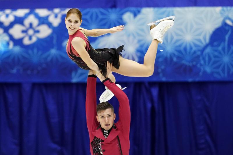 Anastasia Mishina and Aleksandr Galliamov of Russia perform in the pairs free skating program during the ISU Grand Prix of Figure Skating in Sapporo, northern Japan, Saturday, Nov. 23, 2019. (AP Photo/Toru Hanai)