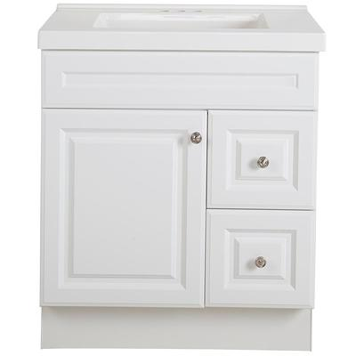 Glacier Bay Glensford 37 In W X 22 In D Bathroom Vanity In White With Stone Effects Vanity Top In Winter Mist With White Sink Yahoo Shopping