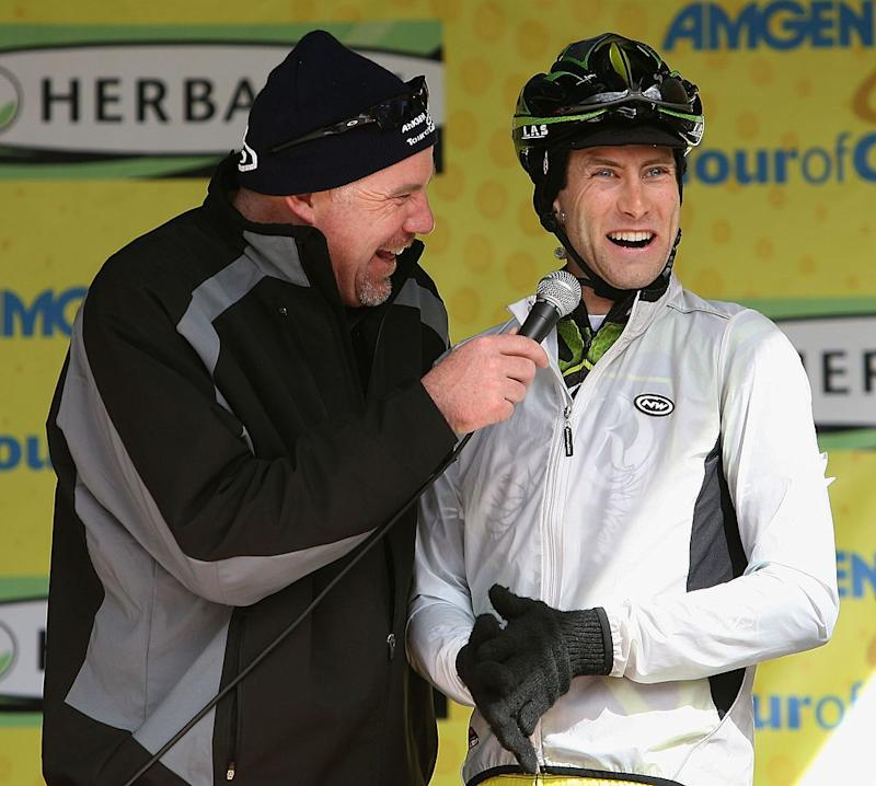 SANTA CLARITA CA FEBRUARY 24 Doug Ollerenshaw of USA riding for Rock Racing is interviewed by Dave Towle befoe the start of Stage 7 of the AMGEN Tour of California on February 24 2008 in Santa Clarita California Photo by Christian PetersenGetty Images