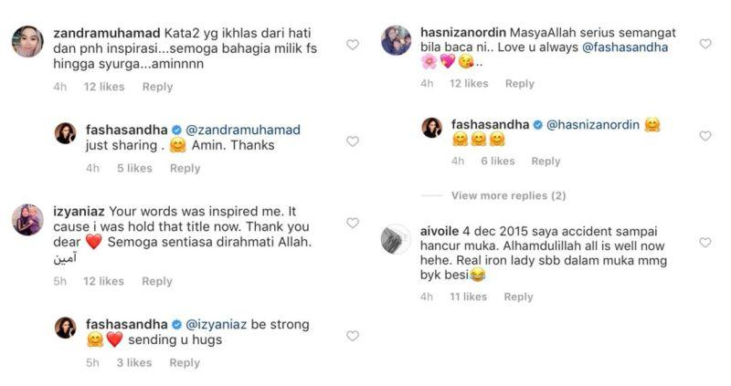 Instagram users commenting on how Fasha's words have inspired them. — Picture via Instagram/@fashasandha