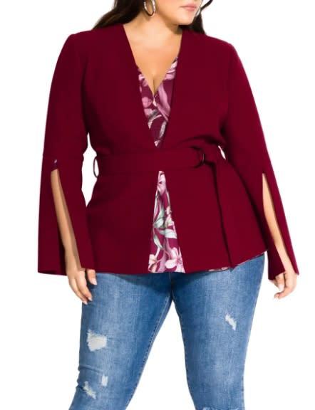 City Chic Belted Jacket. (Image via Nordstrom)