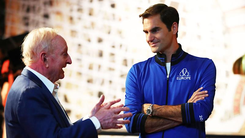 Rod Laver chats to Roger Federer ahead of the Laver Cup.