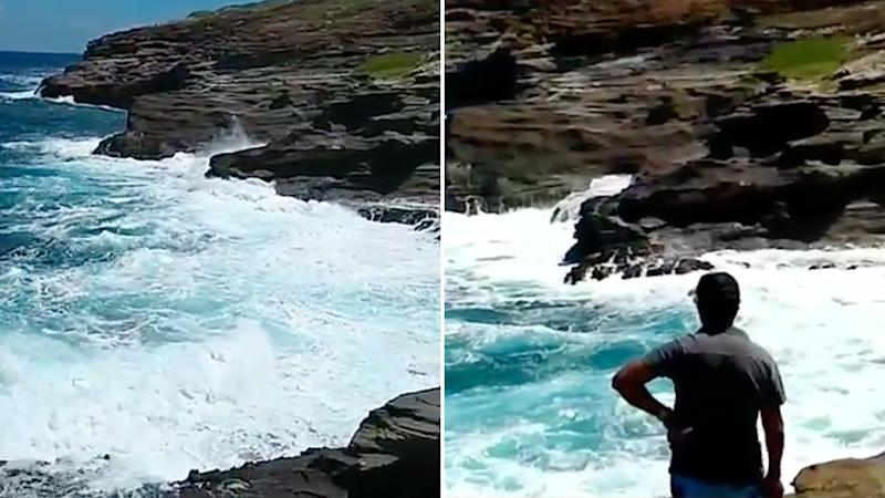 Pictures show the violent surf along a cliff edge in Hawaii. where a couple got dragged out top sea.