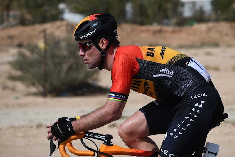 Mark Cavendish on the opening stage of the 2020 Saudi Tour – his first race in his new Bahrain McLaren colours