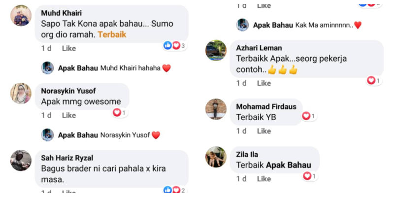 Apak is well known by the town folks and he was admired by many. — Screenshot from Facebook/ Annida Ammar